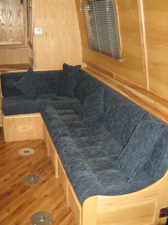 sofa on narrow boat